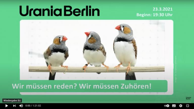 Urania Vortrag Vögel Sprache